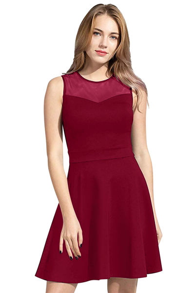 Picture of Knee Length Skater Dress with Mesh