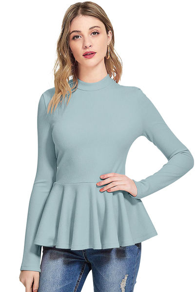 Picture of Full sleeve Mock Neck Peplum Top