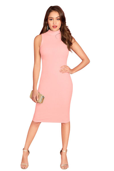 Picture of Mock neck Knee length Bodycon Dress