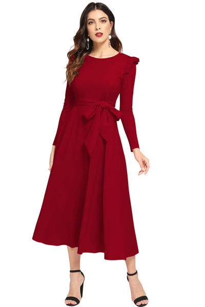 Picture of Full Sleeve belted Midi maxi Dress