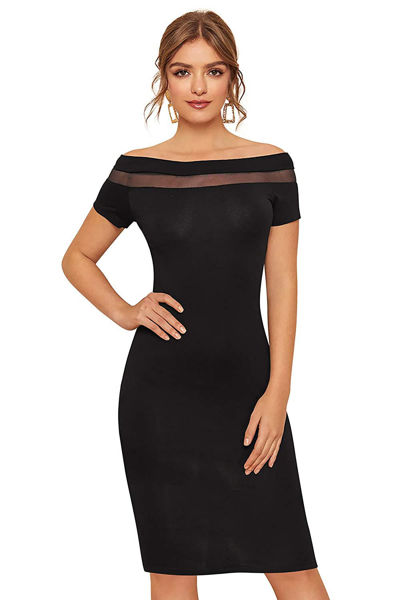 Picture of Topless Knee Length Bodycon dress with mesh